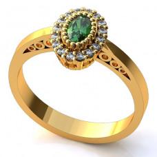 Помолвочное кольцо из желтого золота с изумрудом и бриллиантами