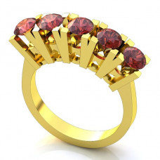 Помолвочное кольцо из желтого золота с рубинами