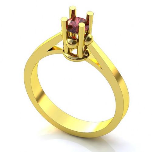Помолвочное кольцо из желтого золота с рубином