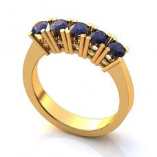 Помолвочное кольцо из желтого золота с сапфирами