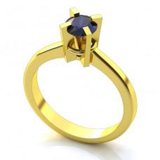 Помолвочное кольцо из желтого золота с сапфиром