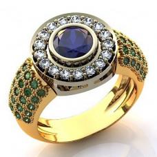 Помолвочное кольцо из комбинированного золота c бриллиантами, изумрудами и сапфирами