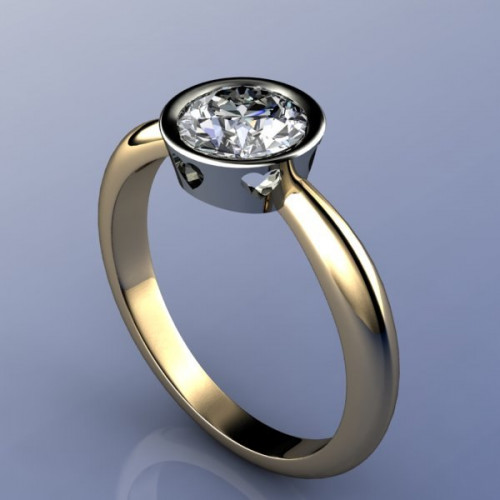 Помолвочное кольцо из комбинированного золота с большим бриллиантом