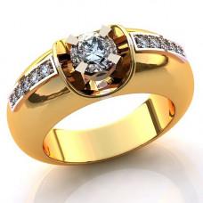 Помолвочное кольцо из комбинированного золота с бриллиантами..