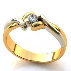 Помолвочное кольцо из комбинированного золота с бриллиантом..