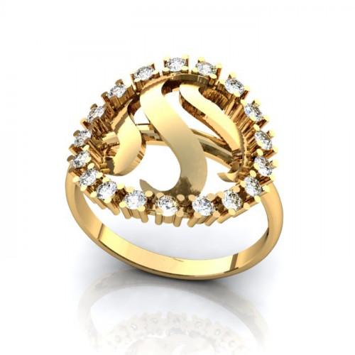 Помолвочное кольцо круглой формы из желтого золота с бриллиантами