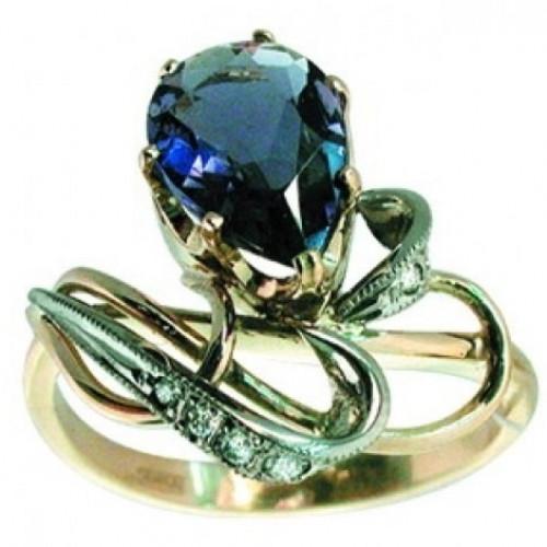 Помолвочное кольцо с сапфиром и бриллиантами