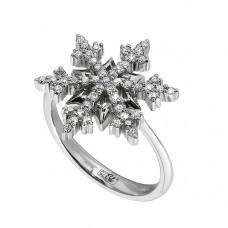 Помолвочное кольцо 'Снежинка' из белого золота с бриллиантами..