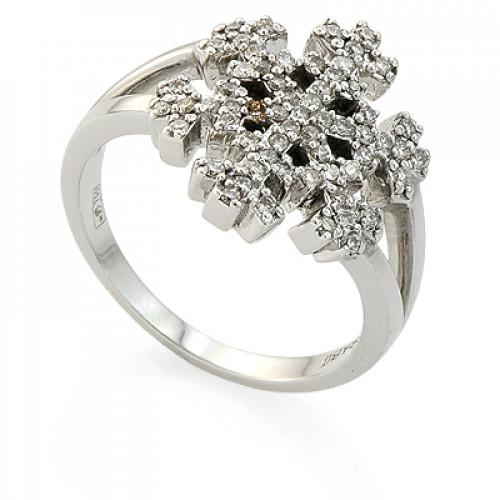 Помолвочное кольцо 'Снежинка' из белого золота с бриллиантами
