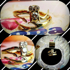 """Помолвочное золотое кольцо """"Сова"""" с бриллиантами"""