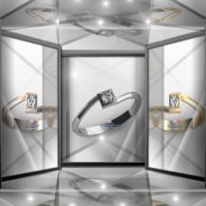 Золотое помолвочное кольцо с бриллиантом в квадратном касте